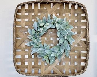 Lambs Ear Square Tobacco Basket Wreath.