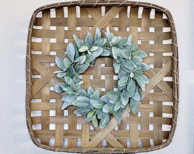 Lambs Ear Square Tobacco Basket Wreath.