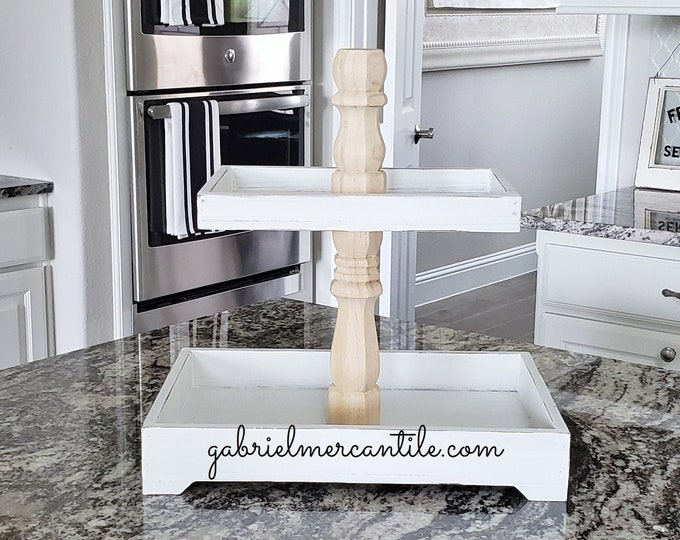 Rectangular Rustic Wood Tier Tray Stand with wood columns. Wood Riser. Wood Stand. Wood Tray. Wood Pedestal. Farmhouse. Rae Dunn.