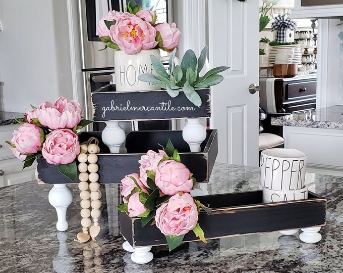BEST SELLER! Wood Tray Riser Stand in Distressed Black & White Legs. Wood Riser. Wood Stand. Wood Pedestal. Wood Tray.