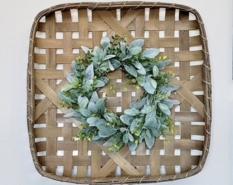Lambs Ear & Ivy Tobacco Basket Wreath.