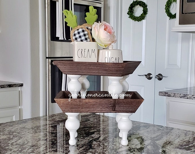 Mini Rectangular Wood Tray Riser Stand with White legs. Wood Riser. Wood Stand. Wood Pedestal. Wood Tray.