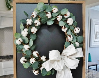 Eucalyptus & Cotton Grapevine Wreath.