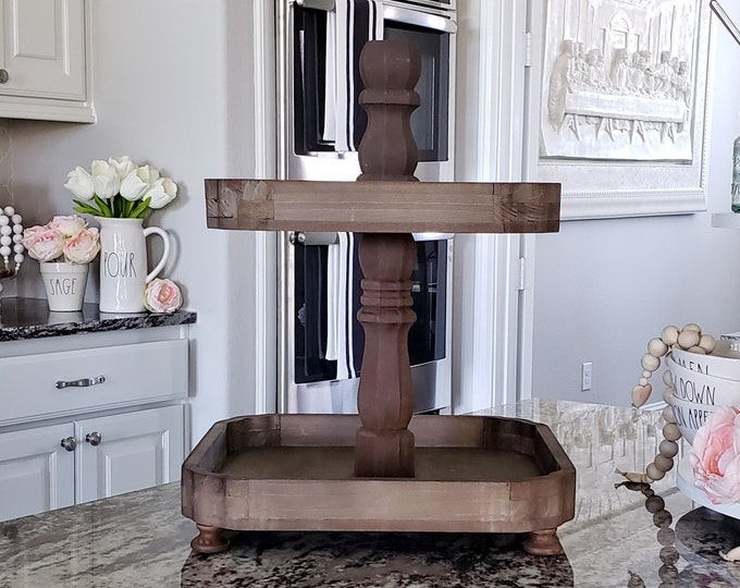 Scalloped Edged Distressed Wooden Tier Tray with Espresso Paint Color Center Stand.