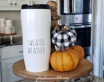 Ceramic Travel Mug with Lid - Sweater Weather. Farmhouse Decor. Tier Tray Decor. Tier Stand Decor. Rae Dunn Decor.