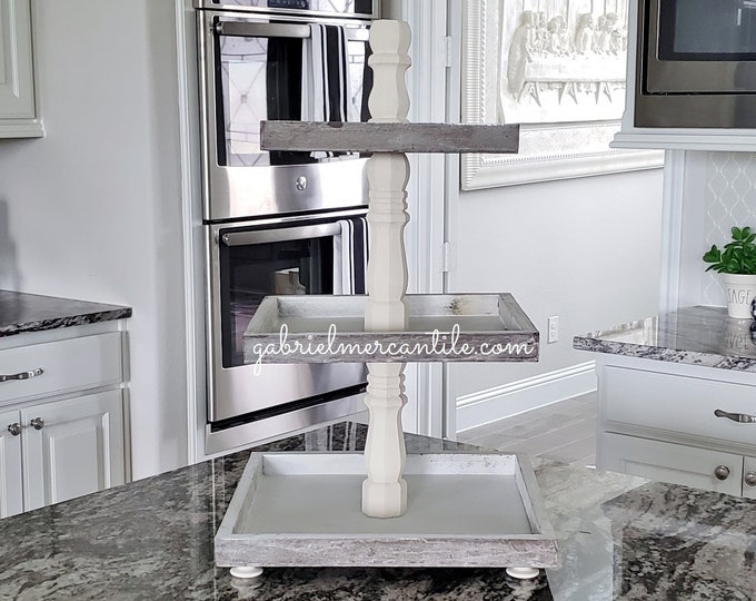 Rustic Wood 3 Tier Square Tray Stand with Cream Paint Color Columns.
