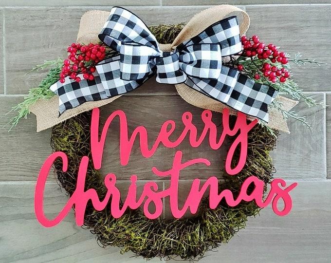 Merry Christmas Wreath. Grapevine Wreath. Christmas Wreath. Holiday Wreath. Monogram Wreath. Moss Wreath. Door Wreath.