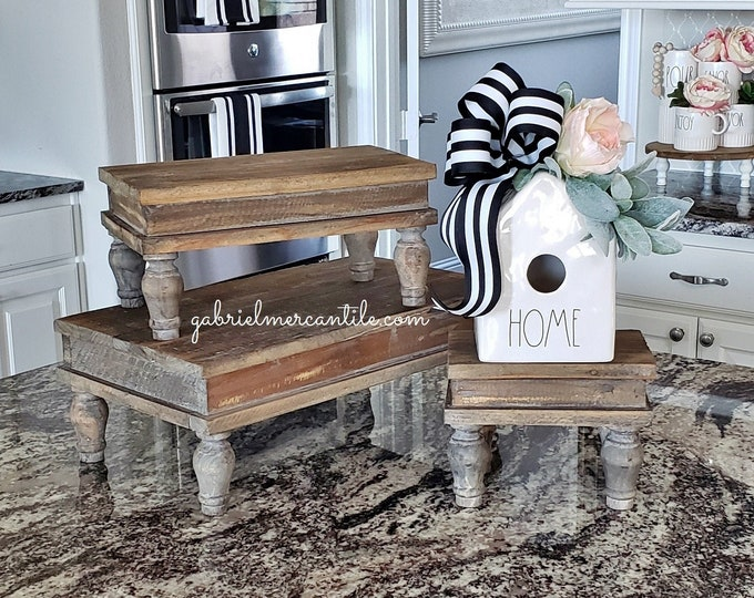 Vintage Rectangular Wood Riser Stand. Distressed Wooden Riser. Wood Riser. Wood Stand. Wood Pedestal. Wood Tray. Farmhouse. Rae Dunn. Rustic