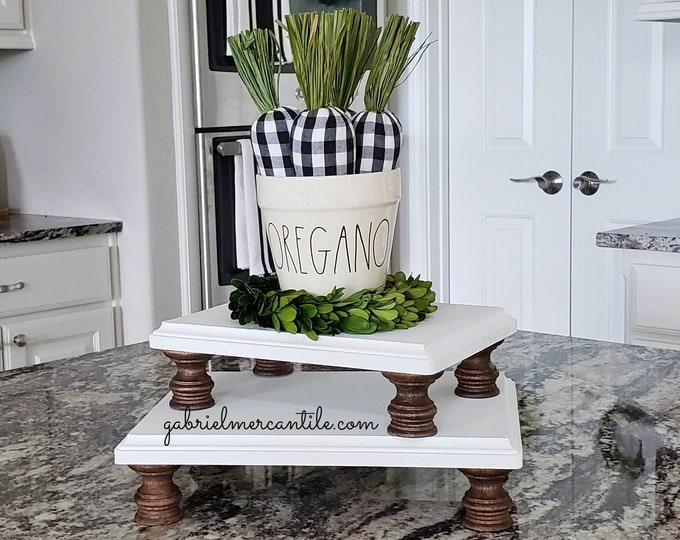 Rectangular Wood Riser Stand in White with Dark Brown legs. Wood Riser. Wood Stand. Wood Pedestal. Wood Tray. Farmhouse Tray. Rae Dunn.
