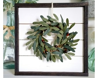 Shiplap Framed Olive Wreath