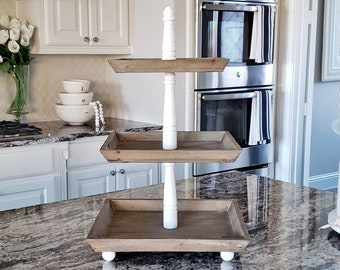 LARGE Reclaimed Wood 3 Tier Square Tray Stand in White Wash Color.