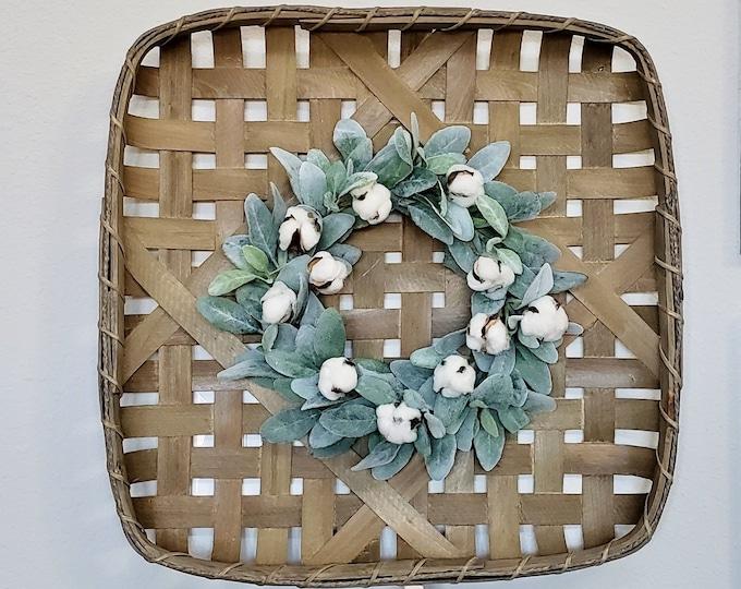 Lambs Ear & Cotton Square Tobacco Basket Wreath.