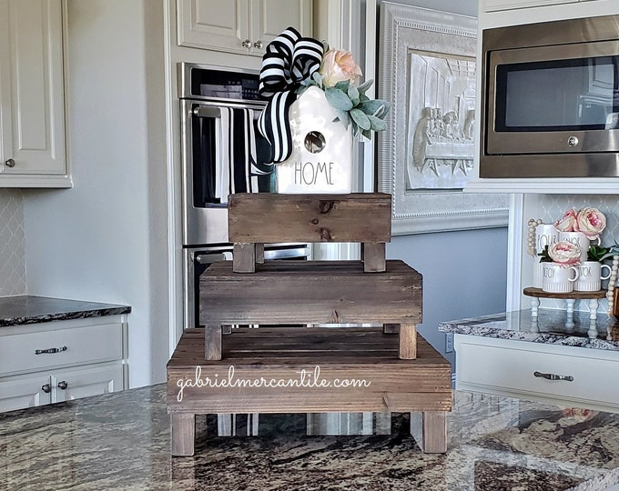 Slatted Square Wood Riser Stand. Wooden Riser. Wood Riser. Wood Stand. Wood Pedestal. Wood Tray. Farmhouse. Rae Dunn. Rustic. Distressed.