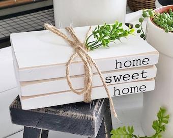 Wooden Book Stack. Farmhouse Book Stack. Farmhouse Decor.
