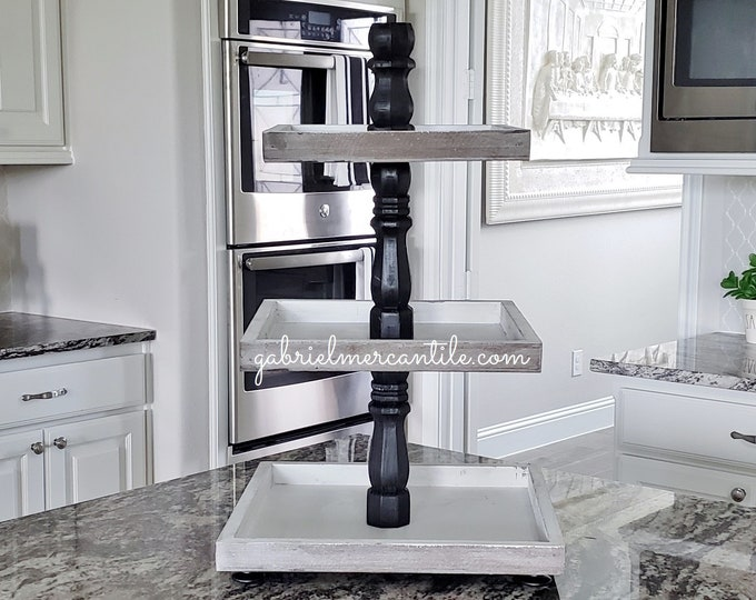 Rustic Wood 3 Tier Square Tray Stand with Black Paint Color Columns.