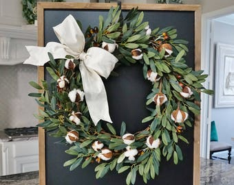 Olive & Cotton Grapevine Wreath.