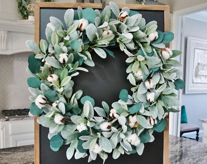 Lamb's Ear, Eucalyptus & Cotton Wreath.
