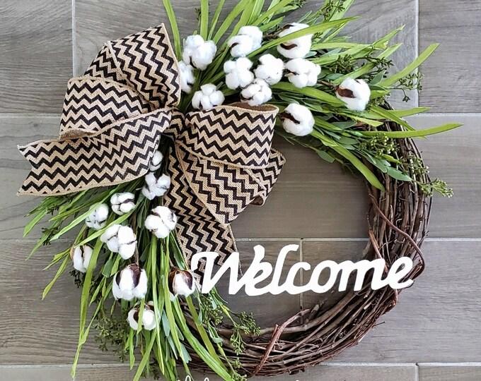 Cotton Grapevine Wreath
