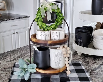 Metal and Wood 3 Tier Round Tray Stand