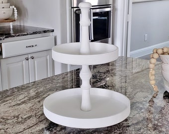 Round Rustic 11.75x15.5 White Wood Tier Tray Stand. Wood Riser. Wood Stand. Wood Tray.