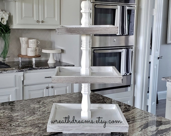 Large Rustic Wood 3 Tier Square Tray Stand in Distressed White Paint Color Columns.
