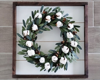 Shiplap Framed with Lambs Ear & Berry Wreath