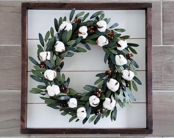Shiplap Framed Olive Wreath