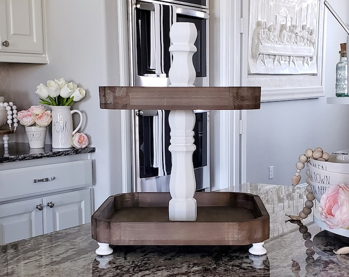 Scalloped Edged Distressed Wooden Tier Tray with White Paint Color Center Stand.