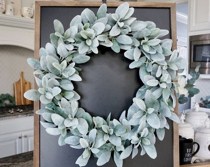 14 to 32 Inch Lamb's Ear Grapevine Wreath. Farmhouse Wreath. Lamb's Ear Wreath. Door Wreath. Monogram Wreath.