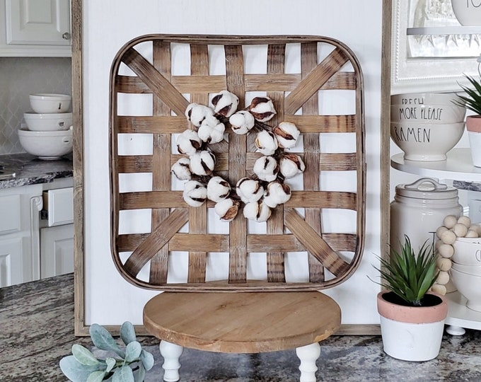 Square Tobacco Basket with Cotton Wreath.