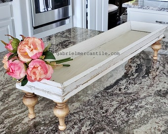 Long and Narrow Distressed White Old  Wood Centerpiece Tray Riser. Wooden Riser. Wood Riser. Wood Stand. Wood Pedestal. Wood Tray. Farmhouse