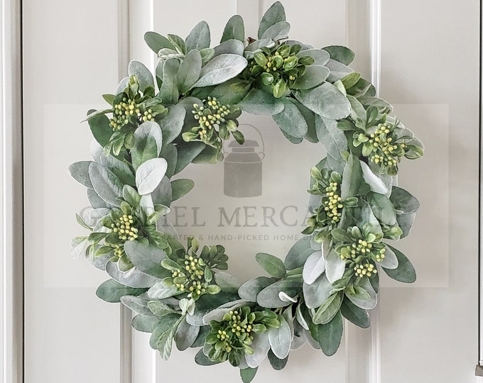 Lamb's Ear, Boxwood & Berries Grapevine Wreath.
