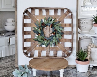 Square Tobacco Basket with Olive Wreath.