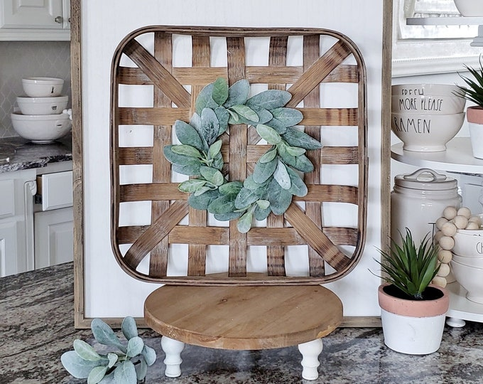 Square Tobacco Basket with Lambs Ear Wreath.