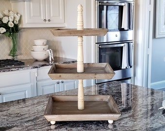 LARGE Reclaimed Wood 3 Tier Square Tray Stand in Natural Color.