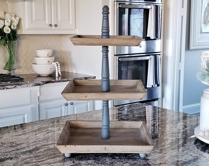 LARGE Reclaimed Wood 3 Tier Square Tray Stand in Gray Paint Color.