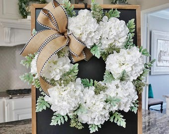 Hydrangea & Dusty Miller Grapevine Wreath.