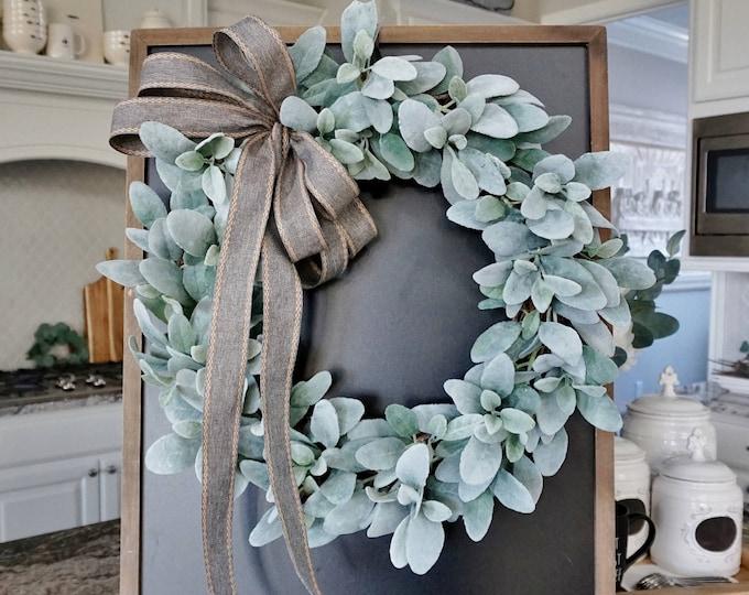 16 to 32 Inch Lamb's Ear Grapevine Wreath. Farmhouse Wreath. Lamb's Ear Wreath.  Door Wreath. Monogram Wreath.