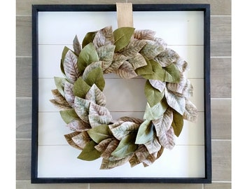 Shiplap Framed with Rustic Magnolia Wreath