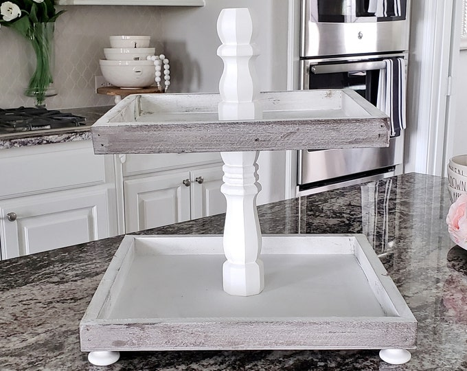 Large Rustic Wood 2 Tier Square Tray Stand in Distressed White Paint Color Columns.