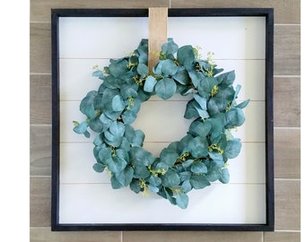 Shiplap Framed with Seeded Eucalyptus Wreath