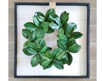 Shiplap Framed with Magnolia Wreath