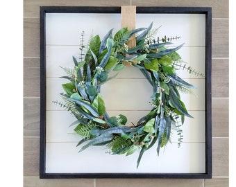 Shiplap Framed with Mix Eucalyptus Wreath