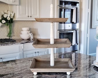LARGE Reclaimed Wood 3 Tier Square Tray Stand in Antique White Color.