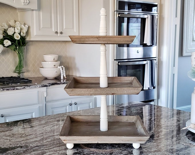 LARGE Reclaimed Wood 3 Tier Square Tray Stand in Cream Paint Color.