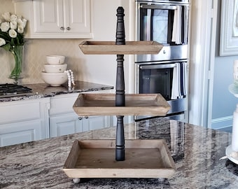 LARGE Reclaimed Wood 3 Tier Square Tray Stand in Black Wash Color.
