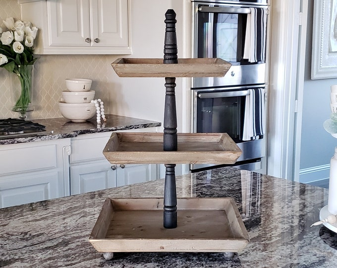 LARGE Reclaimed Wood 3 Tier Square Tray Stand in Black Paint Color.