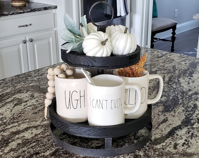 Custom Painted 2 Tier Black Wash Wood Tray Stand.