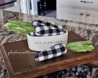 Set of Small Black & White Buffalo Plaid Check Carrots