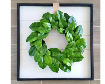 Shiplap Framed with Magnolia Wreath